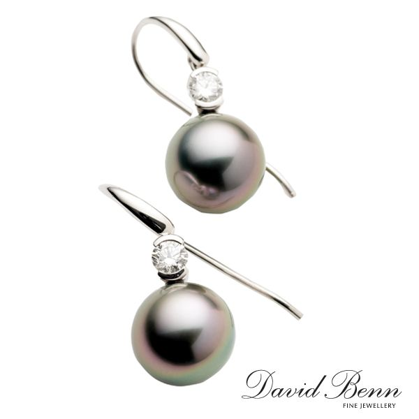 Diamond and Tahitian Pearl Shepherd Hook Earrings