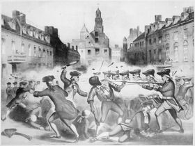 This 19th-century lithograph is a variation of the famous engraving of the Boston Massacre by Paul Revere. Produced soon before the American Revolutionary War, this image emphasizes Crispus Attucks, who had become a symbol for Abolitionists. (John Bufford after William L. Champey, ca. 1856)