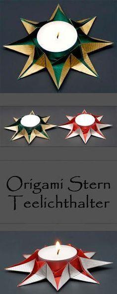 Origami Sterne Teelichthalter falten zu Weihnachten – schöne Weihnachtsdeko selber basteln. – Sabrina Nowak