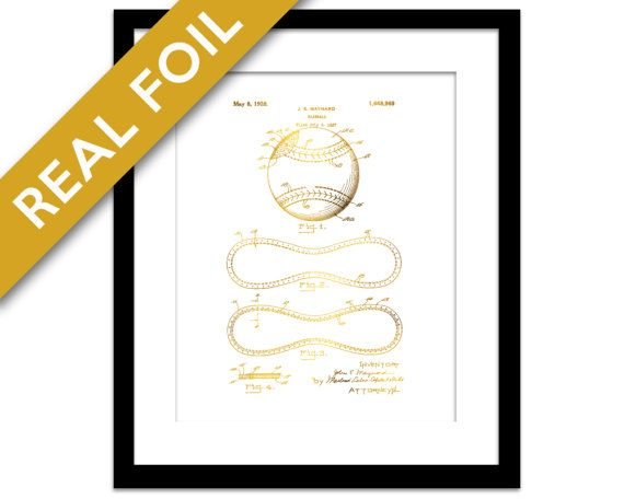 Baseball Patent Illustration Gold Foil Print - Baseball Stitching Poster - Baseball Player Gift - Sports Wall Art - Boys Room - Sport Decor