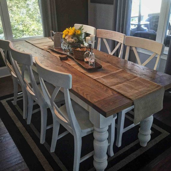 Custom White Oak Farmhouse Table by KnottyWoodcraftCHS on Etsy