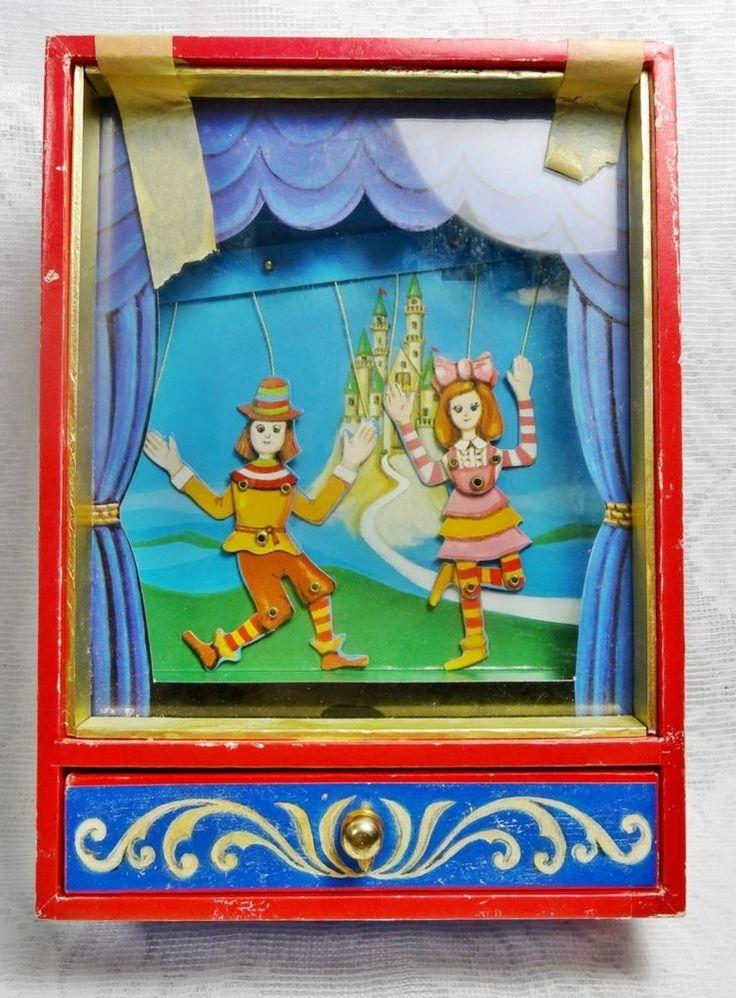 Vintage Otagiri Music Box Puppet on a String RARE Works Jewellery Box