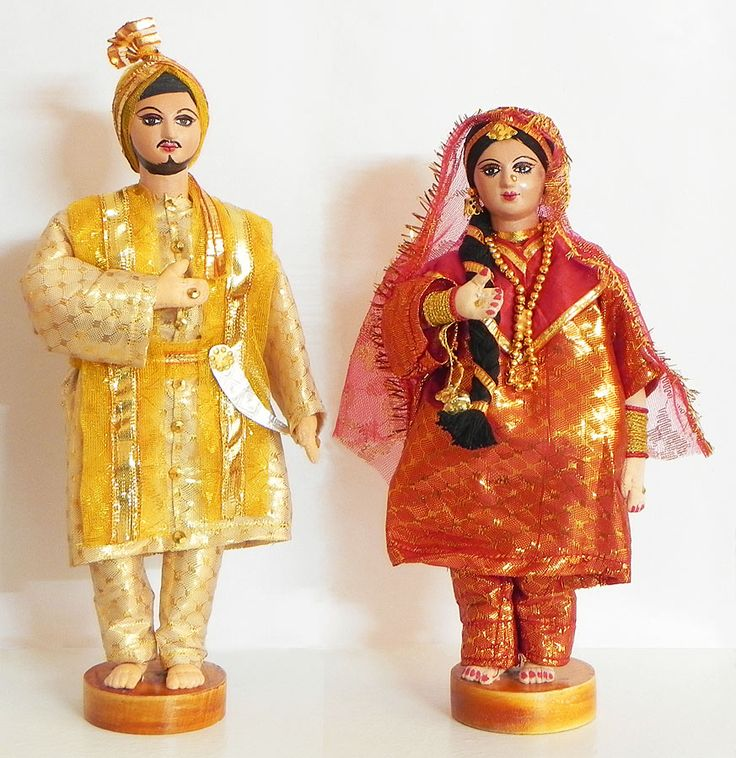 Bridal Couple from Punjab, India - Costume Cloth Dolls