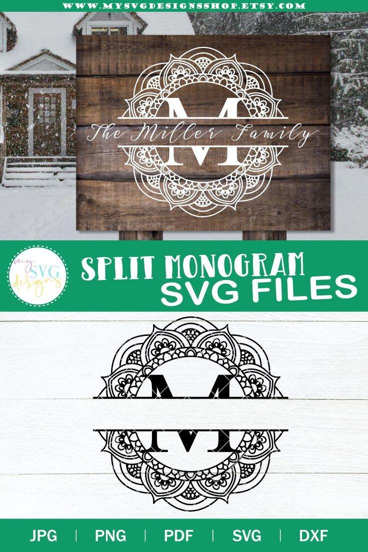 Split monogram M svg Monogram frame svg Mailbox decal svg