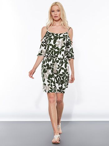 Celestino - Cold shoulder viscose dress in floral print