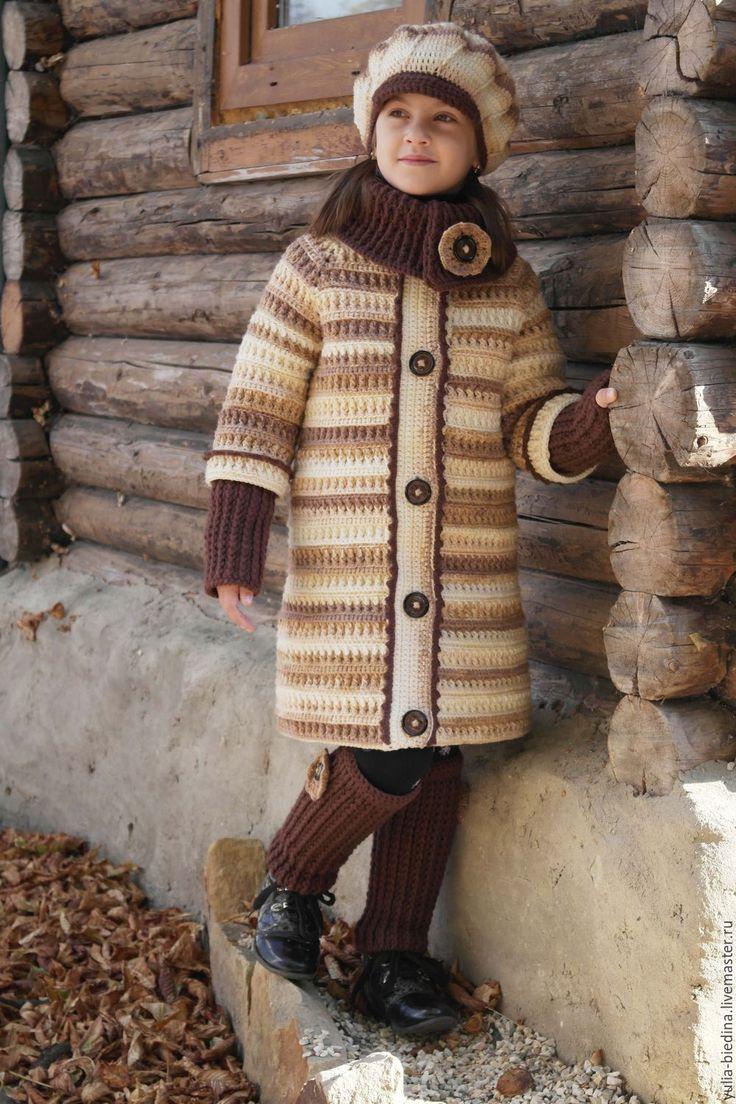 """Купить Пальто для девочки """"Latte"""" - авторская ручная работа, пальто, пальто для девочки, Вязание крючком"""