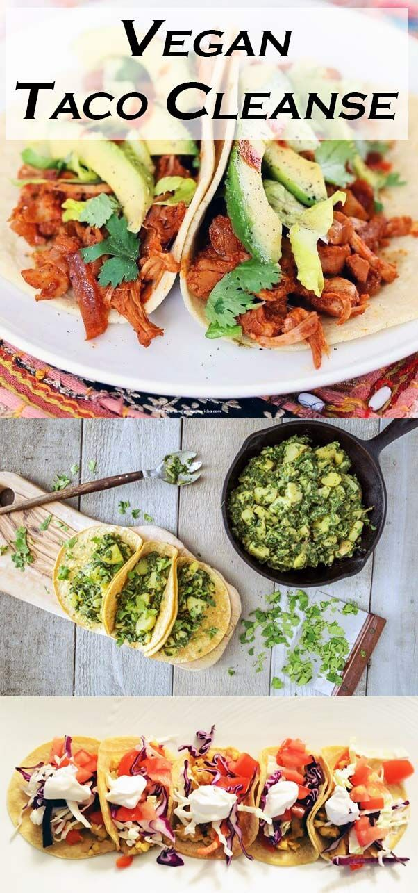Make the #TacoCleanse vegan with these delicious vegan taco recipes. Make your tacos vegan to cut out cholesterol and cruelty. Instead of beef or chicken, try substituting jackfruit, tempeh, or vegan meats from /beyondmeat/ for delicious vegan tacos!  #vegan #TacoTuesday #Recipes Photo Credit: /veganricha/, /forksoverknives/