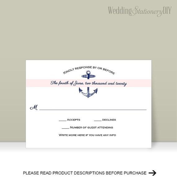 Nautical RSVP wedding RSVP cards Printable by WeddingstationeryDIY
