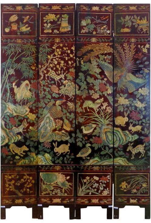 19th Century Chinese Four-Panel Screen | 1stdibs.com