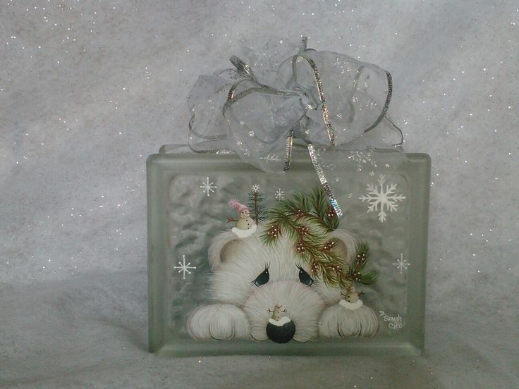 Glass Block Craft Ideas For Christmas Part - 25: Polar Bear With Snowmen ,cuteJMP Design Painted By Diane Schuster Slough