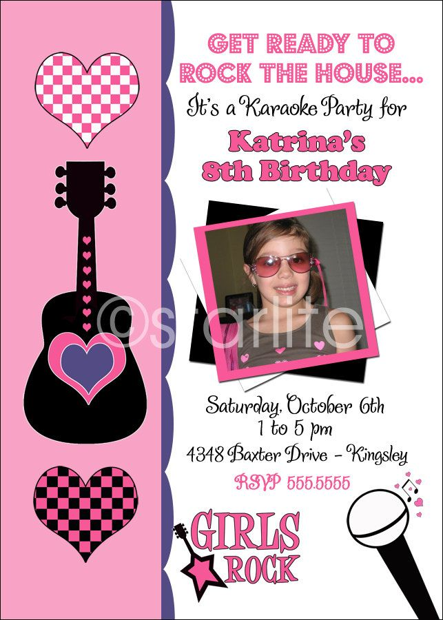 Karaoke Pop Star photo birthday party invitation - Karaoke Rock ...