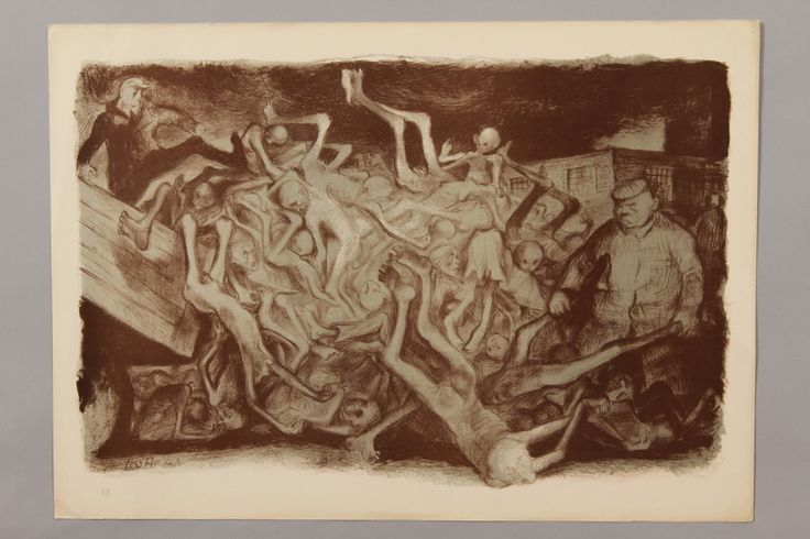 Leo Haas series, German concentration camps: unloading a wagon of dead bodies - Collections - United States Holocaust Memorial Museum World War Two