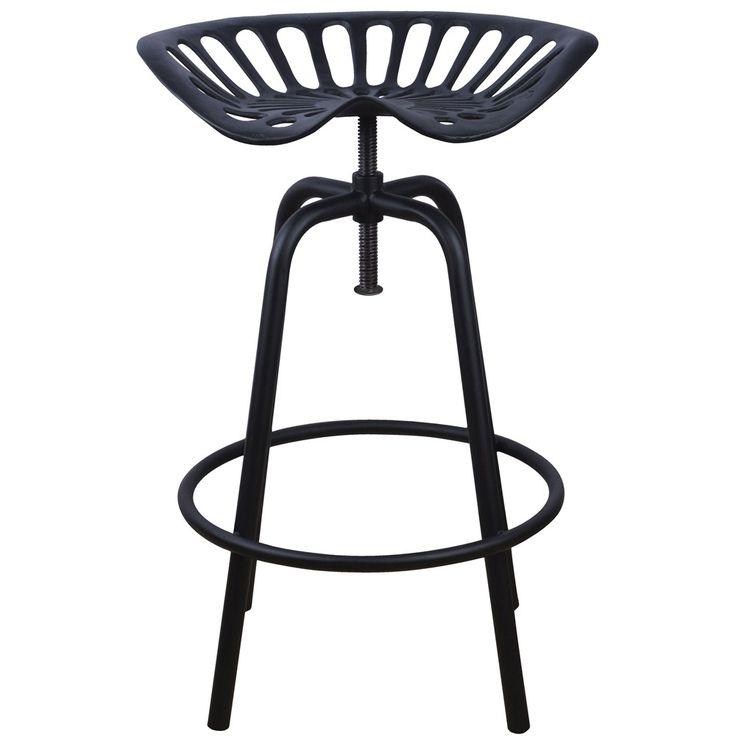 Chaise Tracteur en acier, noire H. 70 cm