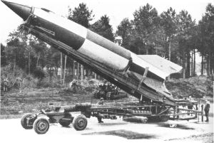 V2 made ready for launch near Wassenaar, The Netherlands (1944-1945).