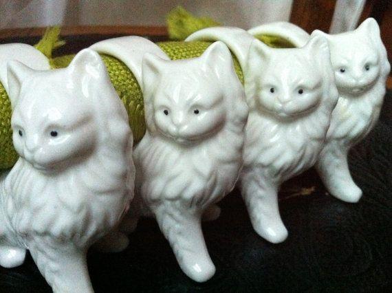 Набор из 4, Винтаж, Белые котята персы - кольца для салфеток