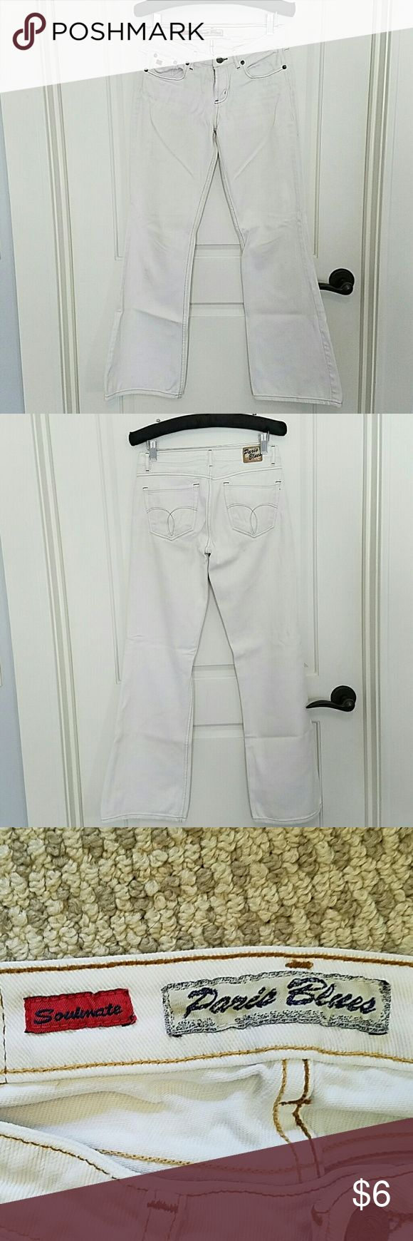 """White Bootcut Jeans Denim jeans """"soulmate"""" style with a 30.5"""" inseam. Couple of teeny tiny spots but I think they just need to be washed Paris Blues Jeans Boot Cut"""