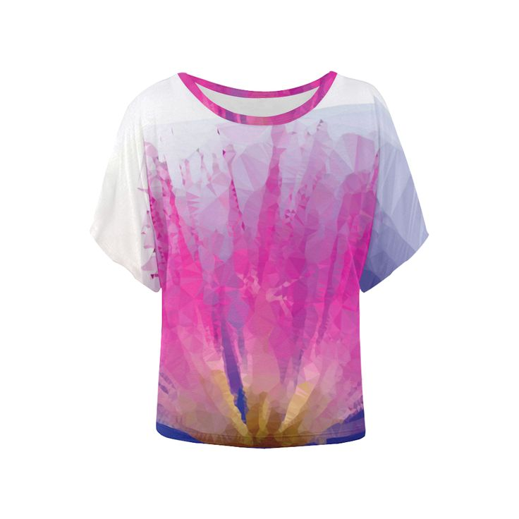 Pink Floral Low Poly Geometric Triangle Art Women