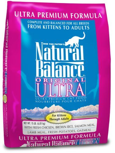 """$38.62-$69.57 Natural Balance© """"Ultra Premium"""" is for all breeds and all life stages. This formula has been tested on pregnant queens, countless litters of kittens through fully developed adults, as well as beloved senior cats...all with outstanding results. Made with fresh human grade chicken and duck meat. This unique blend of fresh high quality proteins provide the essential amino acids to hel ..."""