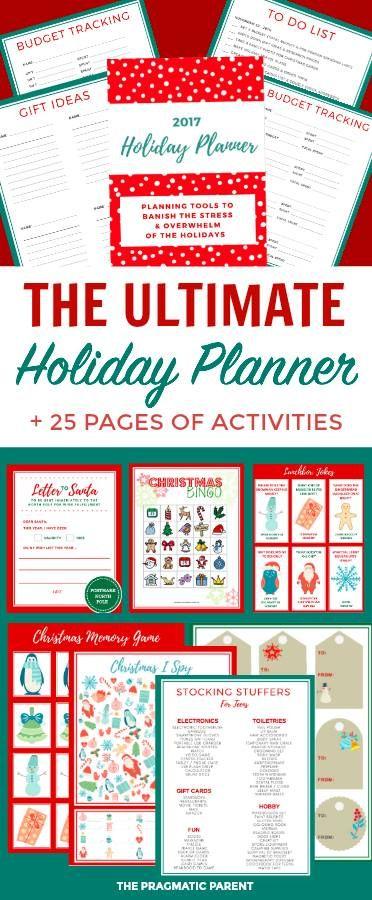 Make the #Holidays less stressful with the Ultimate Holiday Planner. To do lists, printable gift tags, kids activities.  #aff #organizing #Christmas #printables