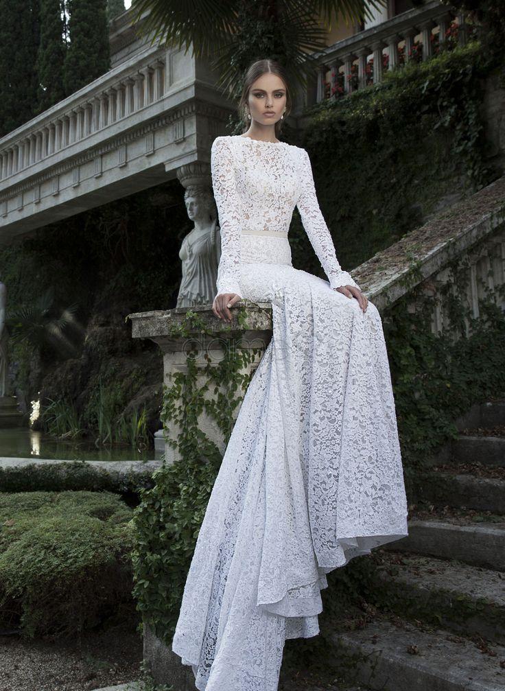 Satin lange Ärmel Etui Meeresstrand Lace bodenlanges rückenfreies Brautkleider