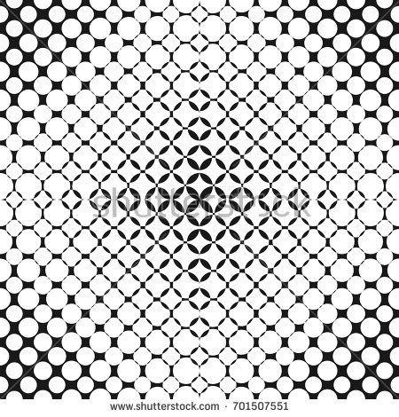 Vector geometric halftone seamless pattern with rounded shapes, circles, dots, perforated surface. Abstract monochrome repeat background. Radial gradient transition effect. Modern stylish texture.