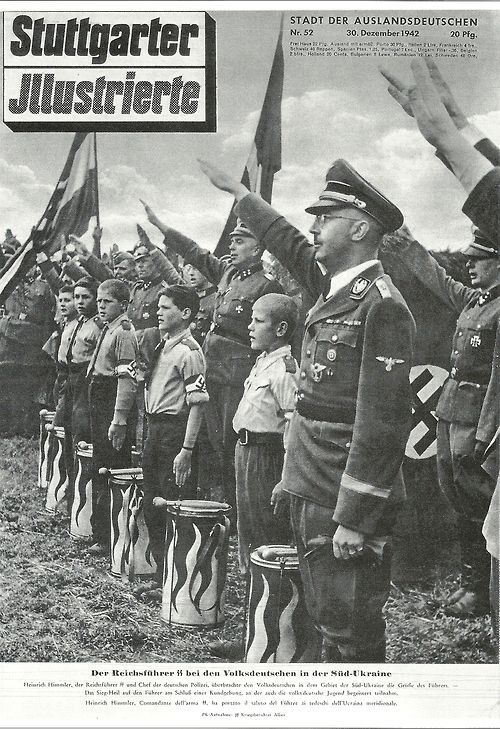 Heinrich on a magazine cover with Hitler Youth.  From page 156 of Martin Mansson's book Heinrich Himmler: A Photographic Chronicle of Hitler's Reichführer-SS owned by Christian Habisohn