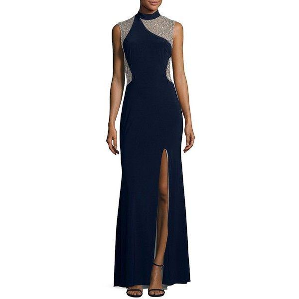 Xscape Women\'s Beaded Applique Evening Dress ($249) ❤ liked on ...