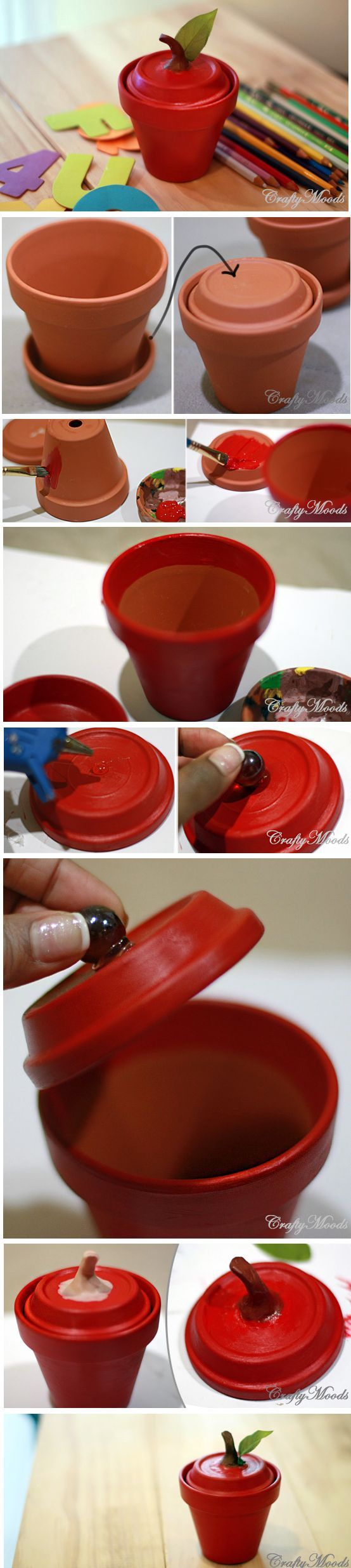 DIY Apple Clay Pot Tutorial
