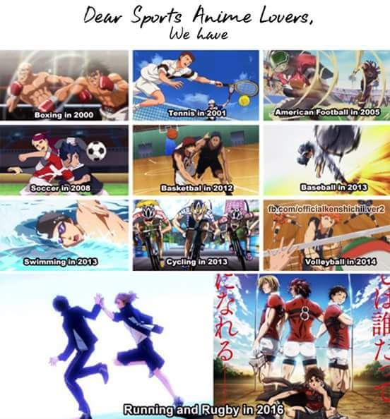 Boxing: Hajime no Ippo Teniss: Prince of Tennis Football: EyeShield 21 Soccer: Inazuma Eleven Basketbal: Kuroko no Basket Baseball: Ookiku Furikabutte Swimming: Free! Cycling: Yowamushi Pedal Volleyball: Haikyuu Running: Prince of Stride Rugby: All out