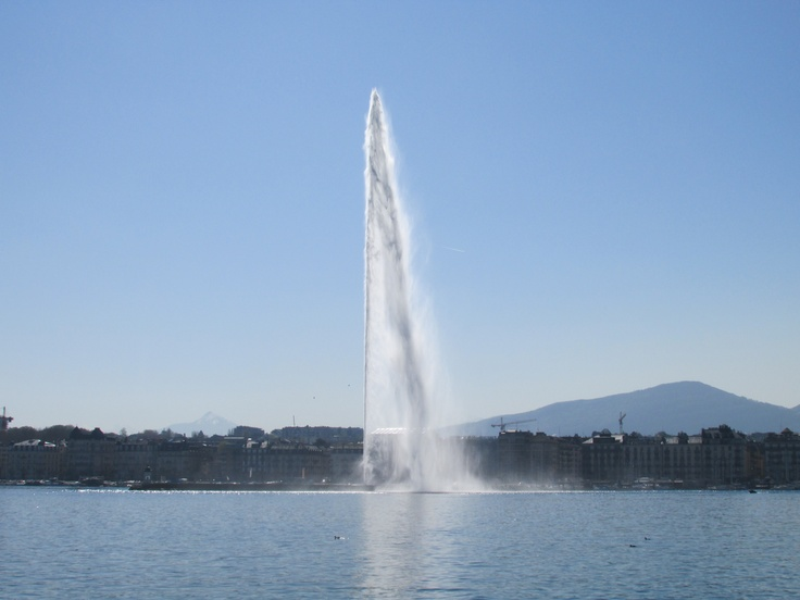 Geneva Fountain - This photo is unique, there are not many other cities that have huge, tall fountains like this one and this is just another reason why Geneva is such an amazing city! The mountain in this background just adds to this amazing photos, making it better and better every time you look at it!