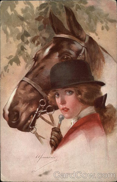 Horse and rider vintage postcard