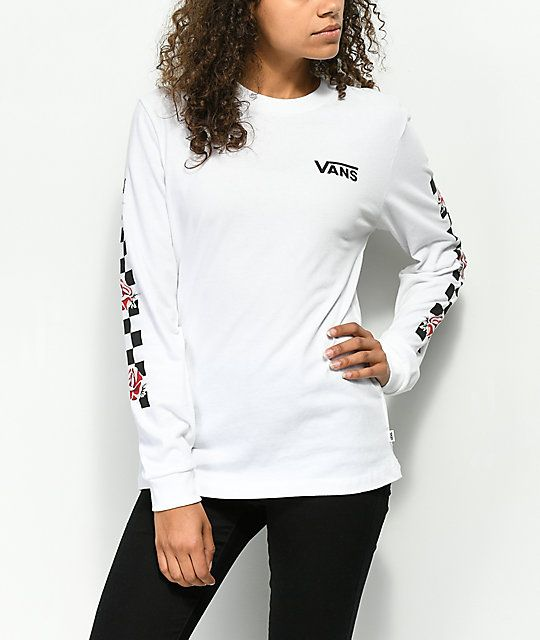 Vans Patchwork Rose White Long Sleeve T-Shirt in 2019  700649c33