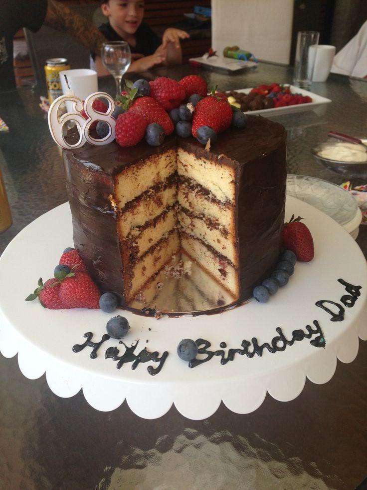 Vanilla and choc ganache cake