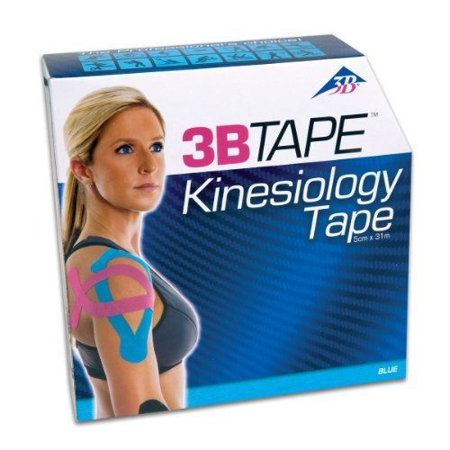 """3B Scientific Blue Cotton Kinesiology Tape, Bulk Roll, 2"""" Width x 101' Length by 3B Scientific. $43.33. 3B Tapes are made from a latex-free, hypoallergenic material and are for kinesiology taping, acu taping and sports taping. 3B Tapes have a skin-friendly, thermoplastic wave-like acrylic adhesive on one side. The wave like adhesive is used to push sweat and moisture away from the tape. This means that 3B Tapes are water resistance, air-permeable and do not come off in..."""