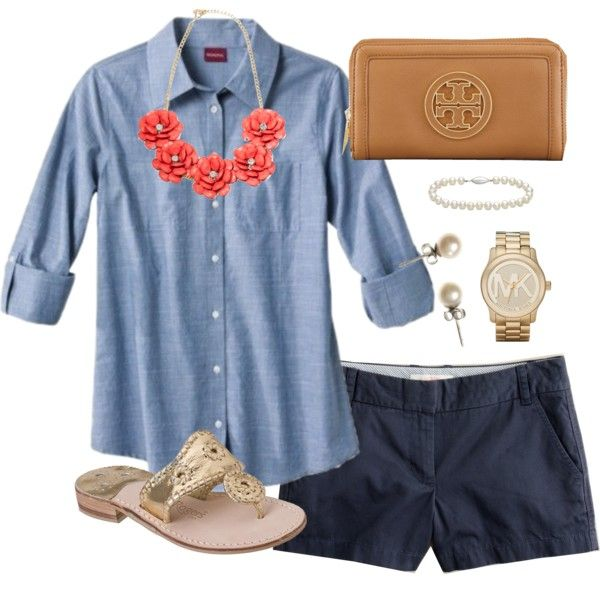 """""""Chambray"""" by classically-preppy on Polyvore (ok, not such short shorts, though)"""