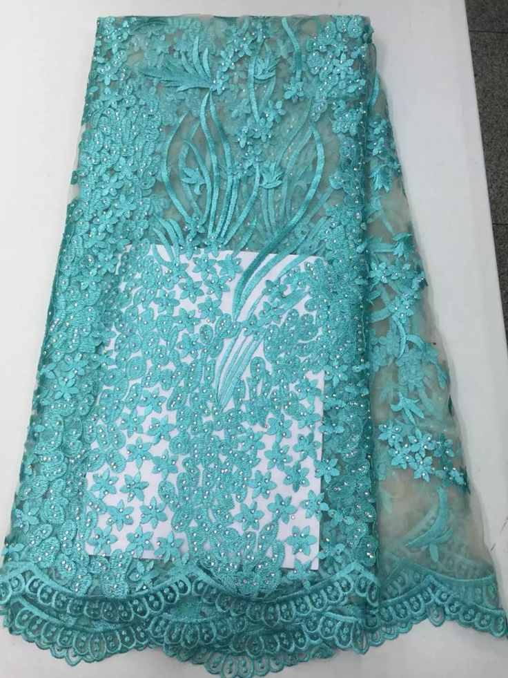 Barato Luxo pedrinhas turquesa africano da tela do laço frisado malha francês lace voile para vestido de noiva (5 jardas/lote), Compro Qualidade   diretamente de fornecedores da China: Hot sale green factory price french net lace fabric with rhinestones stones high quality African lace fabric material fo