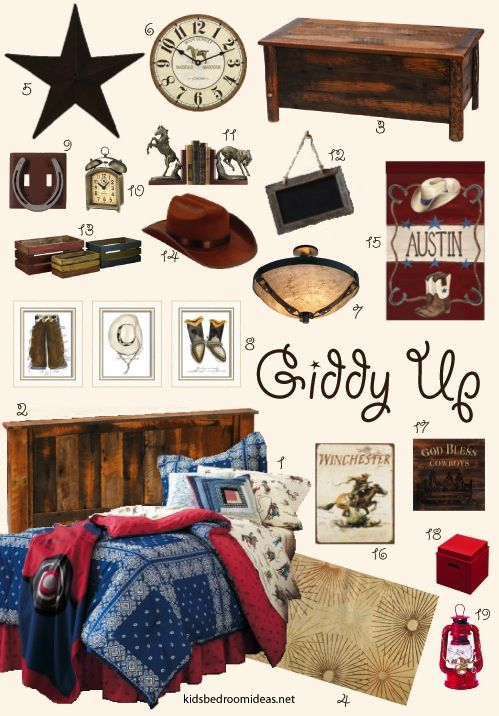 Took that Chaps cowboy bedding I liked so much and built a cowboy bedroom around it for a boy. Click through to see where I found everything.
