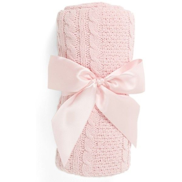 Infant Nordstrom Baby Cable Knit Blanket ($28) ❤ liked on Polyvore featuring home, children's room, children's bedding, baby bedding and pink baby