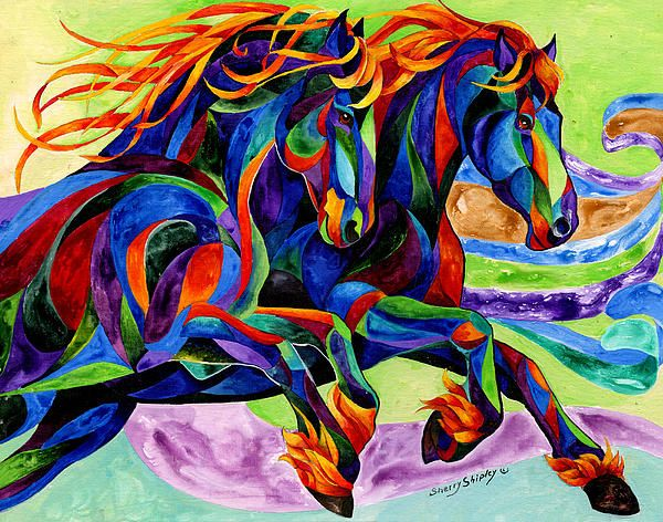 Wild Dancers - acrylic Painting by Sherry Shipley @ Fine Art America