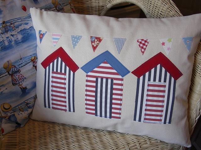 Beach hut pillow