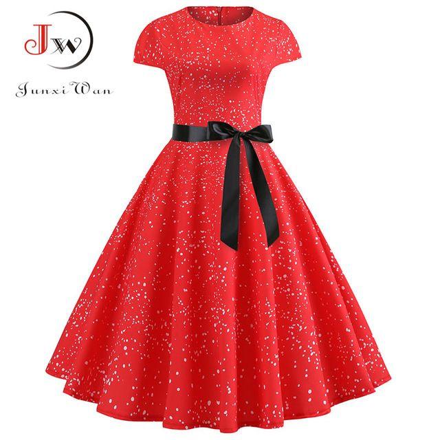 Yellow polka dot print women summer dress vintage swing rockabilly dress robe femme party plus size casual midi vestidos 1