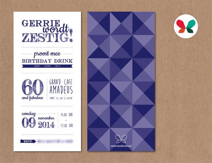 Gerrie wordt 60 jaar! Studio Nica heeft het ontwerp en drukwerk voor deze uitnodiging verzorgd.