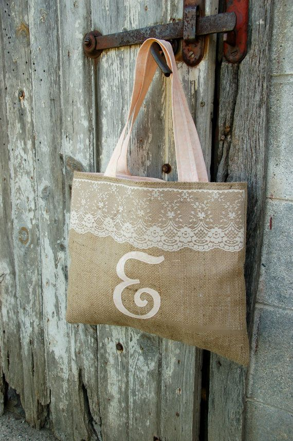 Burlap and Lace Monogrammed Bridesmaid Tote with Matching Fabric Interior Here's one with her initial on it!  Totally Erin in the summer with her capris and cute tops.