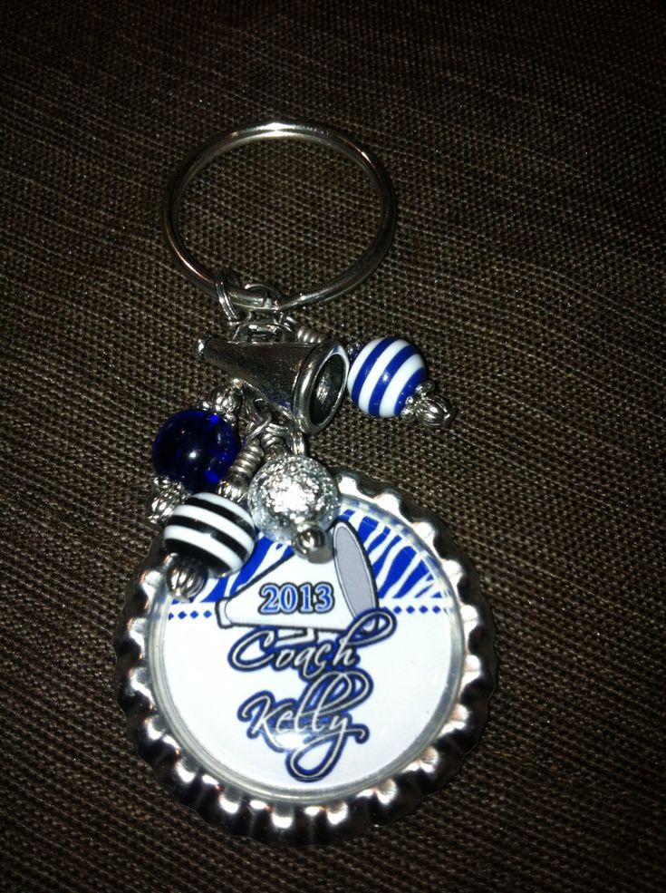 Personalized Cheer Coach Bottle Cap Key Ring - FABULOUS Gift - Custom Key Chain Beads and Charms. $10.50, via Etsy.