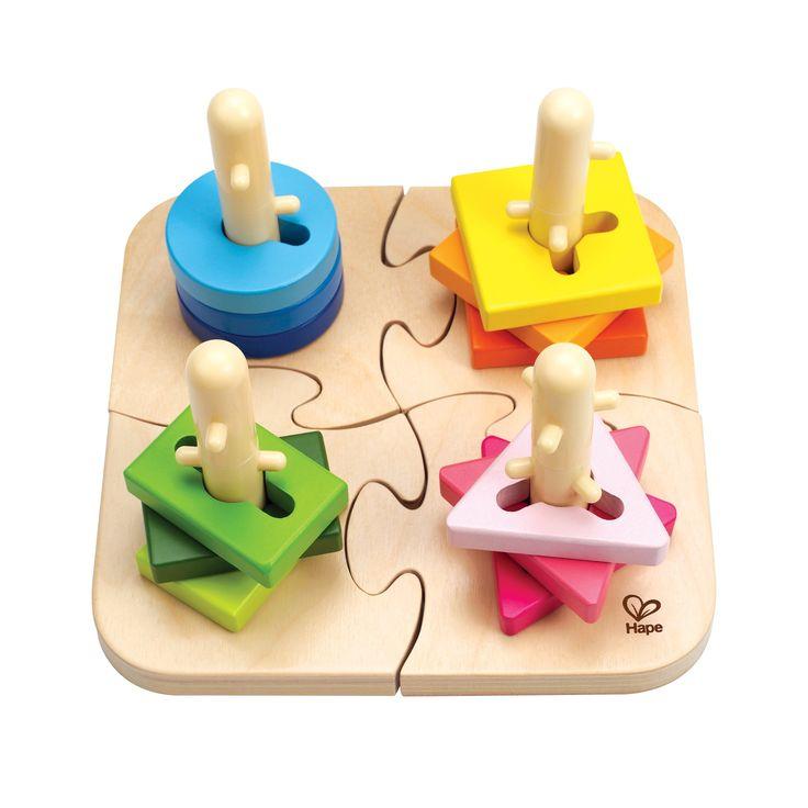 Dřevěné barevné puzzle pro děti od 18 měsíců. Tato hračka je skvělá výzva pro zvídavé děti. Jednotlivé tvary musí děti na tyčku nasunout otáčením, tak aby výstupky zapadly do otvorů a dílek tak hladce sklouz dolů.
