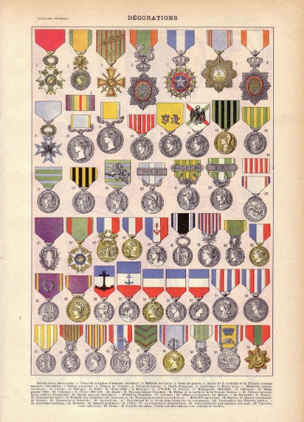 "Antique Military Print ""Decorations"" French Vintage Medals Illustration"