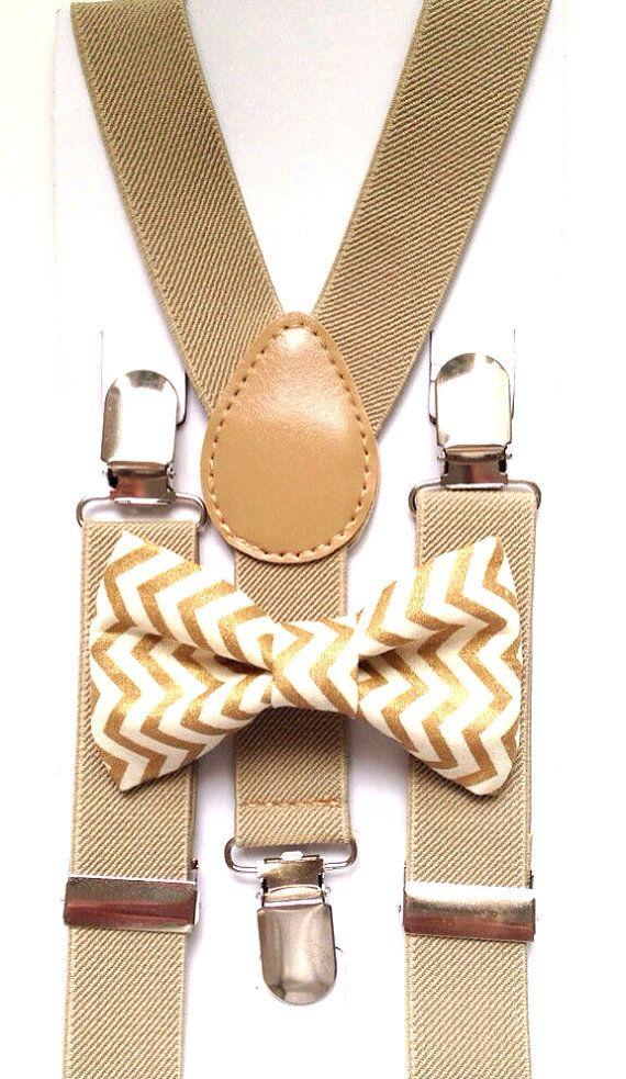Tan suspenders Matching Gold Chevron Bow Tie kids por BowTieFun