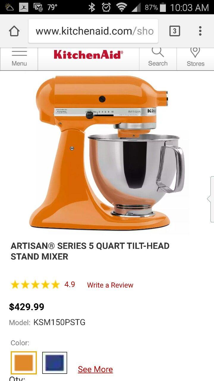 Kitchenaid Artisan mixer in beautiful tangerine. ~$400