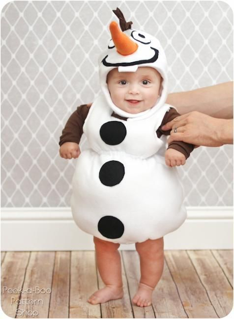 Olaf costume - free pattern to download for this adorable simple to sew Frozen inspired costume, perfect for babies, toddlers and younger kids