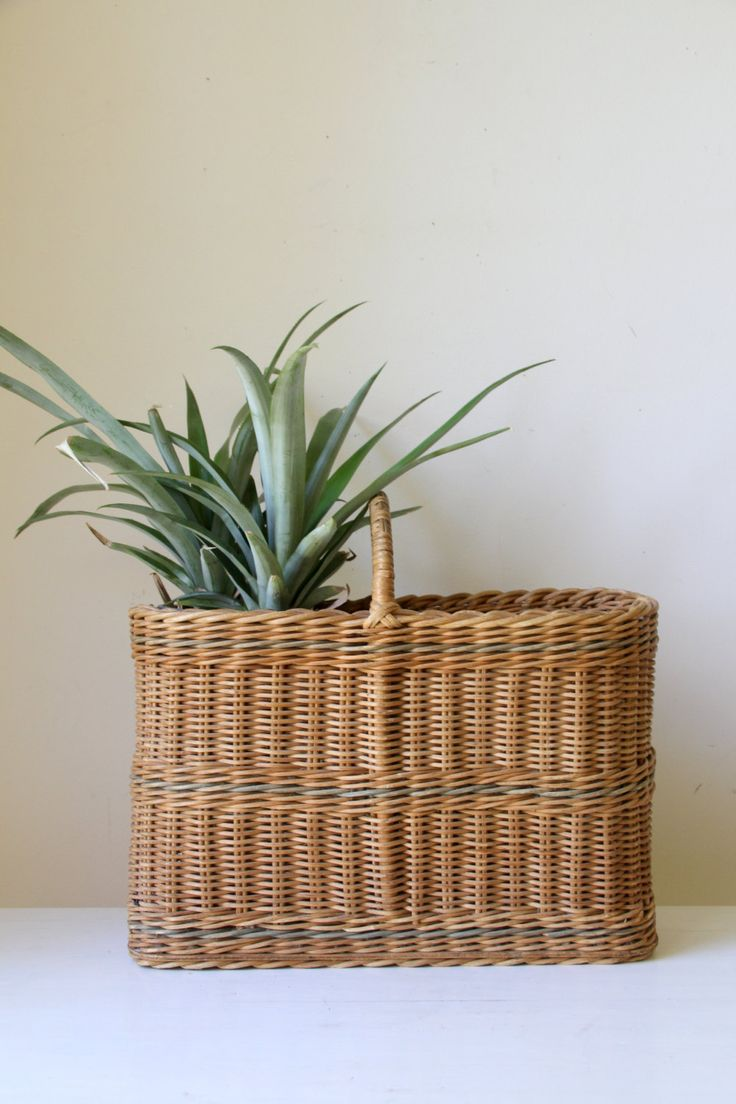SOLD Vintage cane basket/ wicker picnic baskets/ eclectic rattan basket/ boho bohemian decor/ neutral modern vintage by RetroandRosesvintage on Etsy